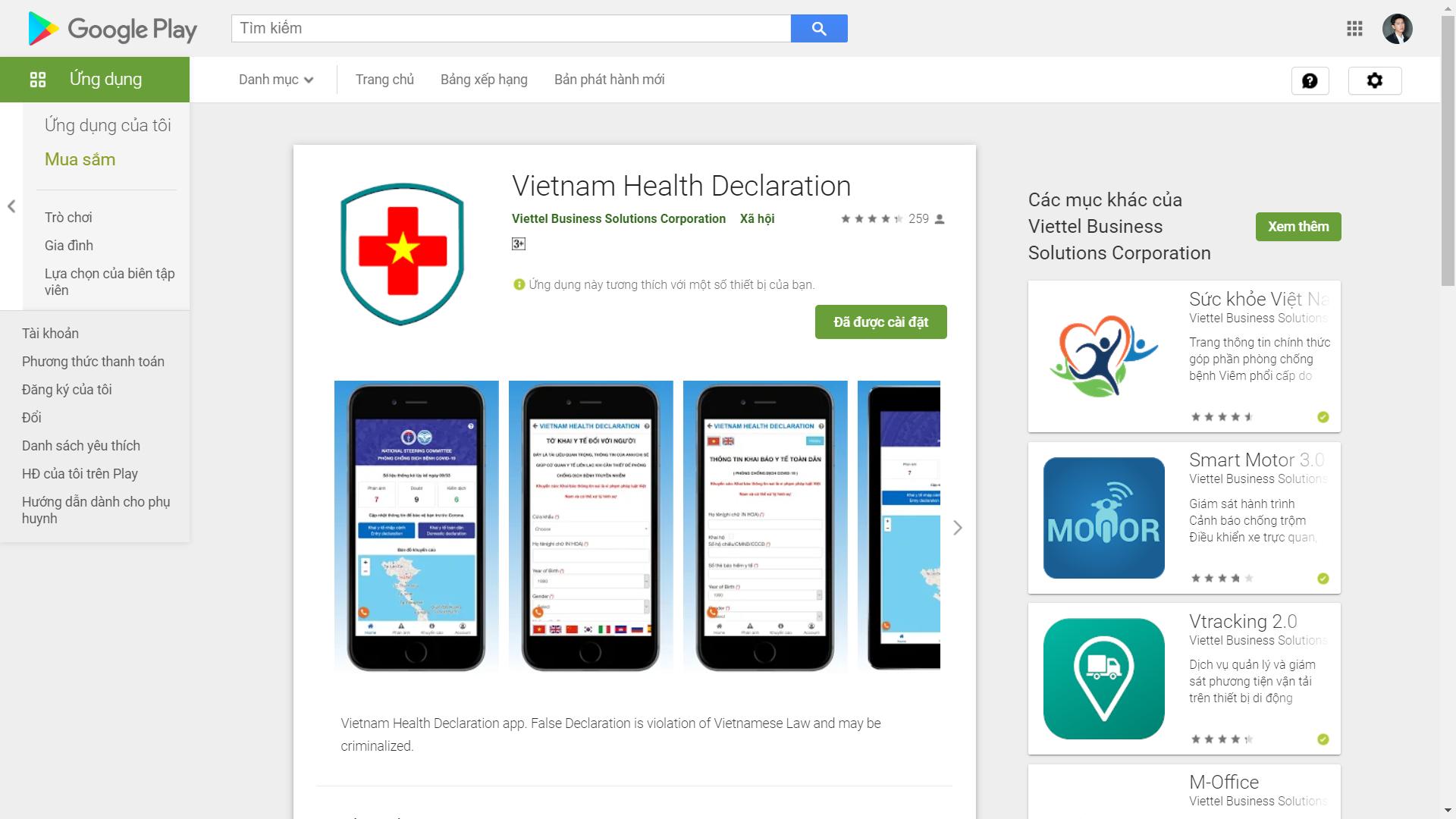 ứng dụng khai báo sức khỏe